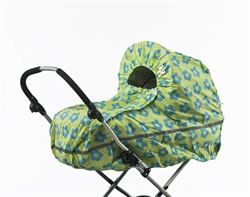 Raincover stroller Lime with Blue Flower